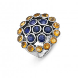 Silver ring set with citrines and iolites
