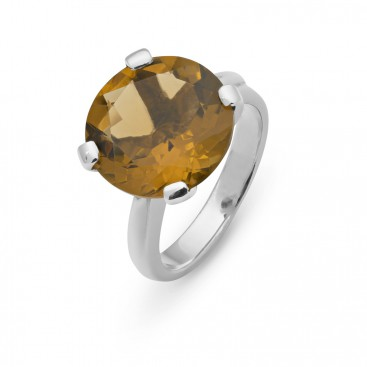 Silver ring set with with a smokey topaz