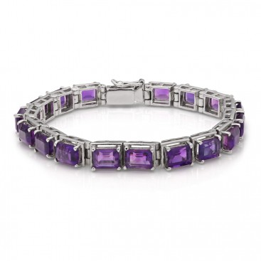 Silver bracelet set with amethysts