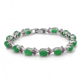 Silver bracelet set with jades and rubies