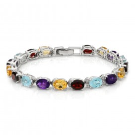 Silver bracelet set amethysts, garnets, citrines and blue topaz