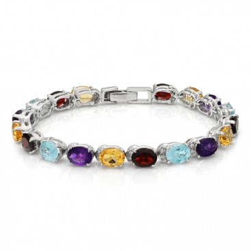 Silver bracelet set amethysts, garnets, citrines and blue topaz