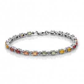 Silver bracelet set with brilliants and multi coloured sapphires