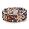 Silver bracelet set with amethysts, garnets, citrines and iolites