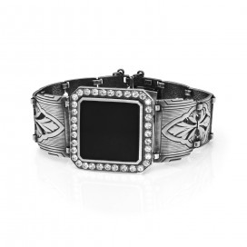 Silver bracelet (Art deco design) set with onyx and crystals