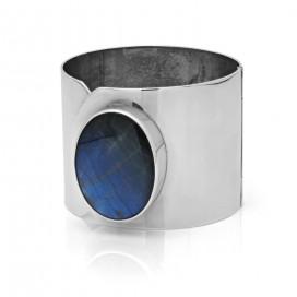 Solid silver bracelet set with spectrolite